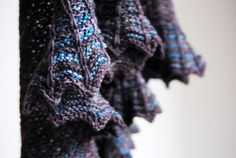 Lakedale Shawl by Stephen West, from malabrigo Book 3. Sock yarn, Persia and Eggplant colorway.