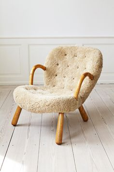 Martin Olsen, 1950′s, Norway  Beech wood work. Re upholstered in sheep skin.