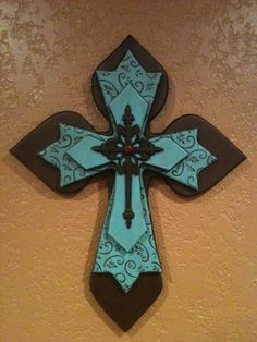 Large Turqouise and Brown Layered Wood Cross by SignsBYDebbieHess, $35.00