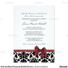 Red and Black Damask Bridal Shower Wedding Dress Card
