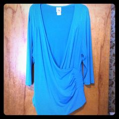Turquoise top you can have fun with! Use with white or black camisole under, the sky is the limit!!! Will give you nice curves. Whether jeans, pants, skirts, jazz up your black dress!  Just My Size- JMS Tops Tunics
