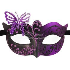 Masquerade Mask Masquerade Mask Butterfly Mask purple/black Mask... ($12) ❤ liked on Polyvore featuring home, home decor, mask, accessories, grey, home & living, home décor, ornaments & accents, grey home decor and black home decor