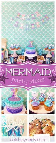 Dive in and take a look at this pretty mermaid birthday party! The birthday cake is wonderful!! See more party ideas and share yours at CatchMyParty.com #mermaid #underthesea #girlbirthday
