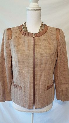 Jones New York Womans Chocolate Brown Linen Blend Zipper Front Blazer Jacket 8 #JonesNewYork #Blazer