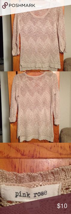 "BEIGE CROCHET KNIT SWEATER Women's L Excellent condition beige scoop neck knit sweater by PINK ROSE. Size women's L. Cuffed long sleeves. Chest: 18"" across lying flat pit to pit Length: 24"" in front and 26"" in back...shoulder to bottom hem. Pink Rose Sweaters Crew & Scoop Necks"