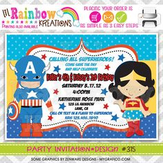 315 DIY  Super Hero 4 Party Invitation Or Thank by LilRbwKreations, $11.00
