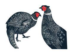 Two Pheasants - linocut - Celia Lewis
