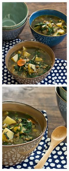 Chard, Lentil, and Potato Slow Cooker Soup from Oh My Veggies, featured on SlowCookerFromScratch.com