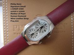 Philip Stein  Signature Small 1-CMOP-CIWI 42mm x 27mm Mother of Pearl Roman Numeral Wine Leather Strap P24,000 @todayswatchfashion,