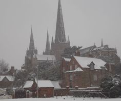 lichfield cathedral in the snowy depths of winter.