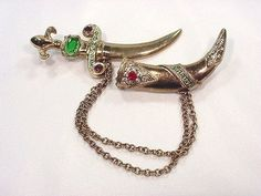 Vintage 1947 Urie Mandel Jeweled Dagger W Sheath 2 Pins / Chains Rhnstns Book Pc SOLD