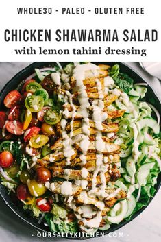 Looking to shake up your paleo dinner routine? Try this lebanese chicken shawarma salad. Mixed greens, fresh herbs, cucumber, tomato, and red onion are topped with slices of crispy oven baked chicken thighs. Oven Baked Chicken Thighs, Crispy Oven Baked Chicken, Grilled Chicken, Paleo Chicken Thighs, Boneless Skinless Chicken Thighs, Garlic Chicken, Roasted Chicken, Tandoori Chicken, Lebanese Chicken