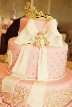 pink and gold first birthday cake - Google Search