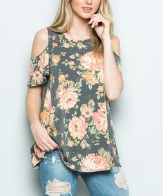 Enliven your ensemble with floral fusion with this top that boasts playful shoulder cutouts. Size S: 29'' long from high point of shoulder to hem66% polyester / 32% rayon / 2% spandexHand washMade in the USA