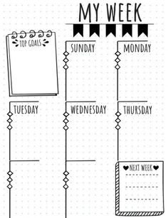 Looking for printable layouts for your bullet journal? These letter-size printable one-page weekly bullet journal layouts come in 4 unique designs!
