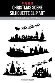 Free christmas scene silhouette clip art in EPS, PNG (transparent), and SVG formats. Christmas Shadow Boxes, 3d Christmas, Christmas Scenes, Christmas Projects, Christmas Decorations, Christmas Costumes, Xmas, Silhouette Clip Art, Silhouette Cameo Free
