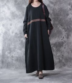 Linen loose fitting long sleeve dress black