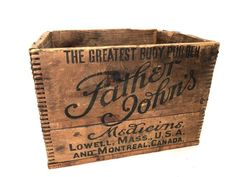Father John's Medicine Dovetailed Wood Box - Antique Father John's The Greatest Body Builder Wooden Box - Vintage Father John's Box Antique Wooden Boxes, Wood Boxes, Vintage Wood, Vintage Signs, Flag Code, Cough Medicine, Box Joints, Father John, Shipping Crates