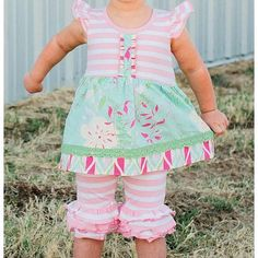 RuffleButts Pink and White Stripe Bermuda Shorts