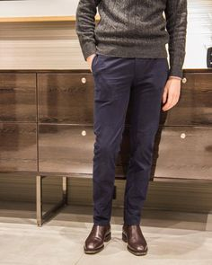 quyandco: MOD. Q001 Brushed Cotton in Navy the most versatiled color in menswear that can be easily dressed up and down.