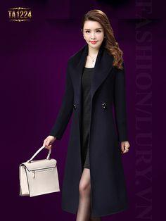 Thời trang áo dạ nữ dáng dài kết hợp túi xách và váy suông màu đen cao cấp TA1224