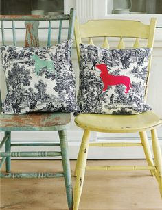 DIY Silhouettes printed out on lazertran paper for fabric and ironed onto throw pillows... I love the contrast... I wonder of I could get Miss Annie Pants to pose for a picture or find one on-line close to her... And one of Mieps-ther-Kitty...