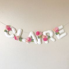 Baby Pink Felt Flowers Name Banner Felt Name Pennant