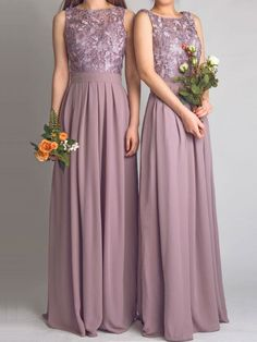 Hot Sell Dark Pastel Pink Chiffon Floor Length Bridesmaid Dress With Lace Bodice 2016 New vestido madrinha