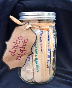 Date Jar, have the guests right on a Popsicle stick of a date night idea! cute for the bridal shower