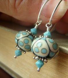 Aqua Lampwork Earrings on Sterling