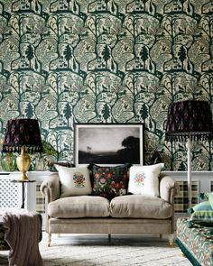 THE ENCHANTED WOODLAND Green Wallpaper Forest Wallpaper, Green Wallpaper, Traditional Wallpaper, Interior Walls, Inspired Homes, Designer Wallpaper, Wall Colors, Luxury Furniture, Kids Bedroom