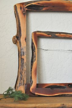 Vintage Raw/Live Edge Wood, Natural Free Form Picture Frame/Rustic Wooden Photo. ◅