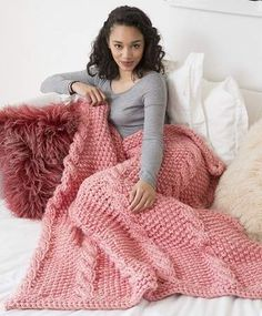 Big Cables Throw knit afghan lap blanket