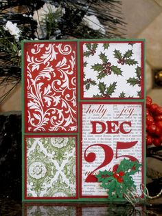 "Another great way to use up your scraps of Christmas paper.  Layer 4 simple blocks of paper on the same color cardstock and follow this pattern on top of a green card base.  And ""DEC 25"" and some holly leaves with red rhinestones for this fun handmade Christmas card."