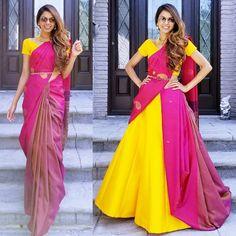 Innovative and Modern saree draping styles / saree wear styles to look stylish & slim. Latest different ways to wearing saree to look beautiful in Party. Lehenga Saree Design, Half Saree Lehenga, Lehenga Style, Lehnga Dress, Saree Look, Anarkali, Saree Blouse, Ghagra Saree, Saree Belt