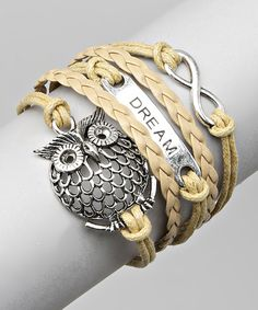 Another great find on #zulily! Tan 'Dream' & Owl Bracelet #zulilyfinds