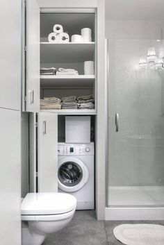Ideas For Bathroom Storage Furniture Small Modern Laundry Rooms, Laundry Room Design, Bathroom Design Small, Modern Bathroom, Contemporary Bathrooms, Industrial Bathroom, Bathroom Designs, Downstairs Bathroom, Laundry In Bathroom