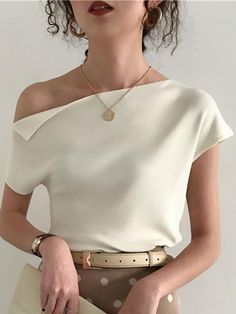 2019 Korean Style Knitted Top Women T Shirt Summer Sexy One Shoulder Ice Silk Kn. 2019 Korean Style Knitted Top Women T Shirt Summer Sexy One Shoulder Ice Silk Knitting Tshirt Casual Street Chic Tees 7 . Mode Outfits, Fashion Outfits, Fashion Women, Gucci Outfits, Gym Outfits, Fashion Belts, Girly Outfits, Stylish Outfits, Womens Clothing Stores
