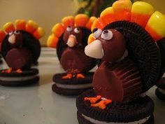 Oreo, candy corn, malt ball, & mini reeses turkey