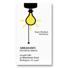 Professional Electrician, Electric, Bulb Business Card. It's two-sided with no additional charge, and totally customizable!