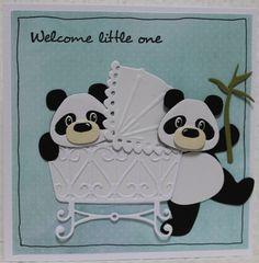 Gemaakt door Joke # Babykaart met Pandaberen