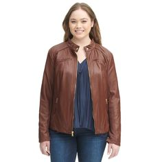 4a07b13553790d Plus Size Black Rivet Snap-tab Collar Faux-Leather Jacket w  Knit Panels -  Plus Size Outerwear - Clearance - Wilsons Leather