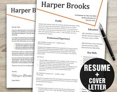 CV TEMPLATE DESIGN and Cover Letter: resume template, professional ...