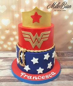 Wonder Woman cake - cake by MileBian Wonder Woman Birthday Cake, Wonder Woman Cake, Wonder Woman Party, Girl Birthday Themes, Birthday Cakes For Men, Birthday Cookies, 7th Birthday, Birthday Ideas, Edible Creations