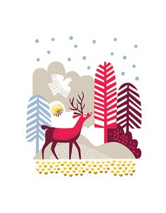 DEER+IN+FOREST-Season's+Greetings-XMASDOZEN-CARTE+CARDS-3.95