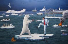 I find this painting interesting as the fight for survival between an endangered species and a human. I'm want to use this type of message in my own work.