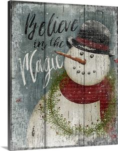 Holiday Art - Believe in Magic Snowman Canvas Wall Art by Beth Albert from Great BIG Canvas.