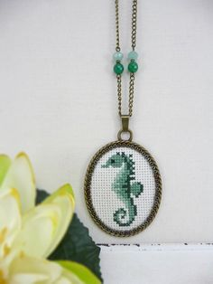Aqua Green Seahorse Cross Stitch Necklace, Stitched Seahorse Necklace, Cross Stitch Jewelry, Green Seahorse Pendant, Embroidery Necklace by TriccotraShop on Etsy