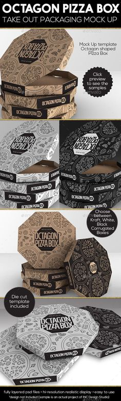 "Octagon Pizza Box designed by folks over @incdesignstudio. I believe this works best for medium sized (8"") pizza boxes and can be made for INR 7.25 and above in India."