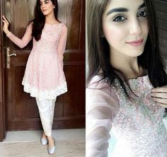 Maya Ali is well known Pakistani actress, model and VJ. See pictures of Maya Ali at Shuakat Khanum Breast Cancer Awareness Campaign. Pakistani Dress Design, Pakistani Outfits, Indian Outfits, Pakistani Clothing, Eid Outfits, Desi Wedding Dresses, Casual Dresses, Fashion Dresses, Maya Ali